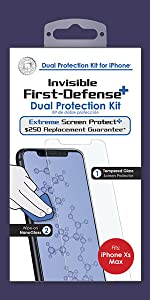 QMADIX invisible nano liquid glass screen protector with bonus tempered glass for iphone xs max.