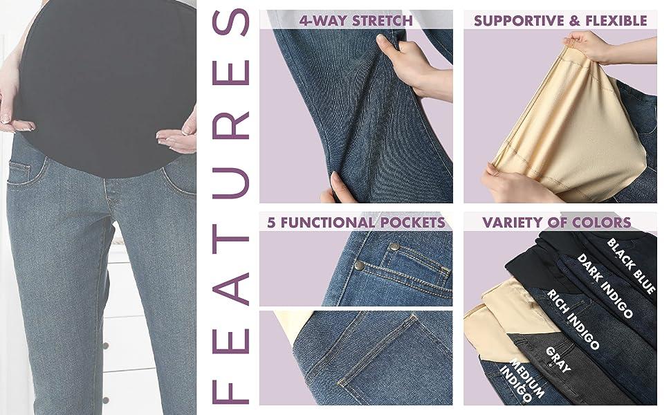 2f0b58e4c9110 Momo Maternity Womens Stretchy Full Panel Straight Leg Denim Jeans ...