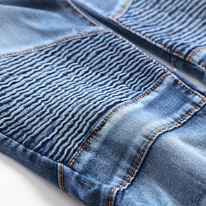 blue biker jeans for men moto denim stretch skinny design holes fashion ripped distressed hip hop