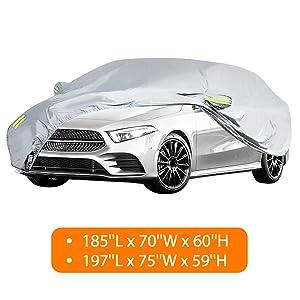 MATCC Car Covers Waterproof Upgraded UV Protection Sedan Cover Universal Fit Full Car Cover