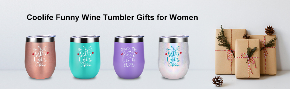 Coolife Funny Wine Tumbler Gifts for Women