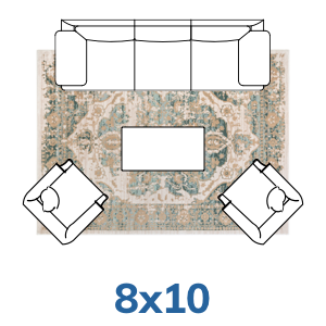 Well Woven Vintage Farmhouse rug placement guide 8x10 8x11 size.