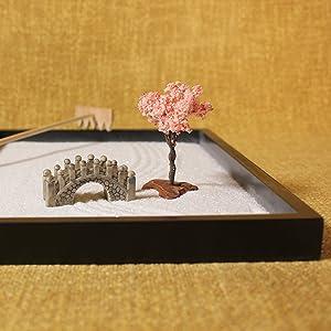 Minimalistic Designs Bridge Cherry Blossom Rake Sand Raking Zen Garden Tray