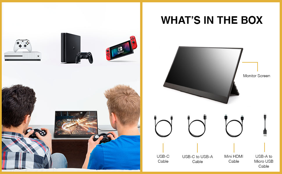 compatibility for monitor extra screen with ps4, xbox, and switch and what's in the box