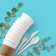 paper products, cups, utensils