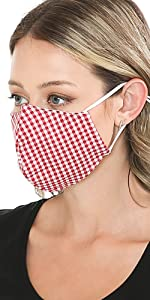 auline collection summer red checker face mask