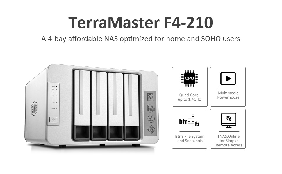 TerraMaster F4-210 NAS 4 bahías Quad Core 2GB RAM Multimedia de ...
