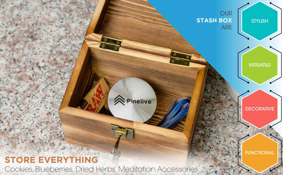 """Pinelive Stash Box with Lock Kit. Stash Box with Grinder 2.5"""". Rustic Small Wood Box with Lid."""