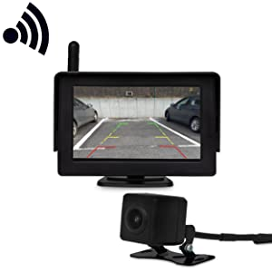 Jom 7122 Wireless Reversing Camera With Monitor Parking Aid 14 4 Cm 4 3 Inch Colour Display Waterproof Camera For Car Suv Van Trailer Bus Auto