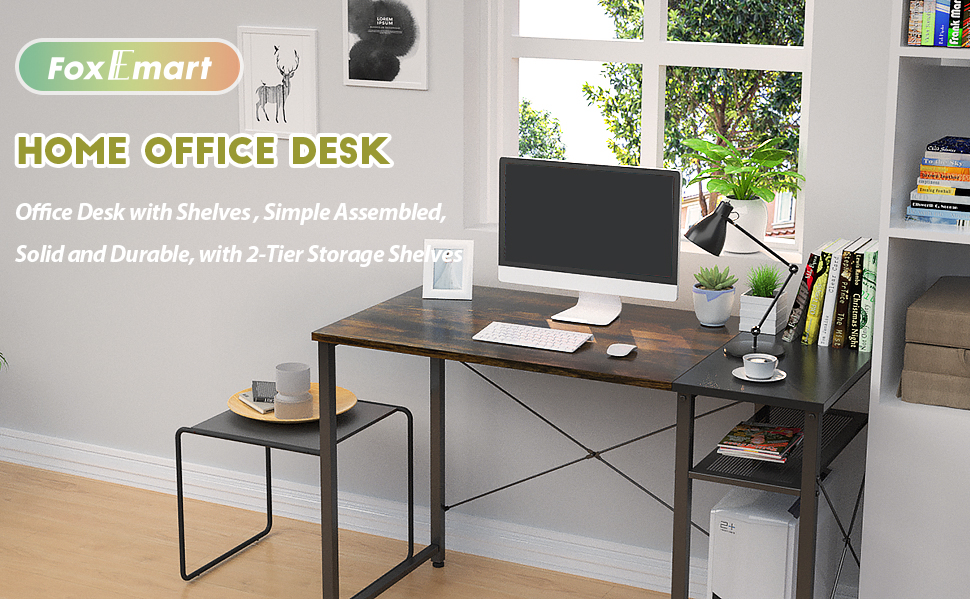 Foxemart Industrial Computer Desk with Shelves Office Workstation(Vintage Oak Finish) 39 Sturdy Writing Desk Office Desk with Grid Drawer Study Room Modern Furniture for Home