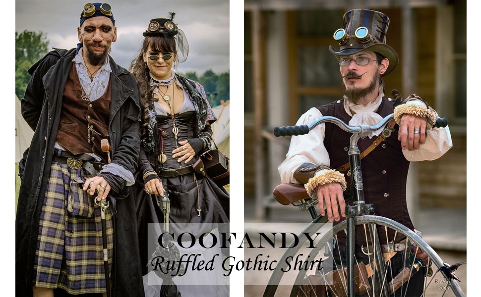 COOFANDY Mens Ruffled Gothic Shirts Victorian Steampunk RenaissanceMedieval Pirate Cosplay Tops