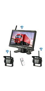 Kit de c/ámara y monitor retrovisores inal/ámbricos 12 // 24V RV Truck Trailer Camper Bus visi/ón nocturna a prueba de agua monitor LCD TFT HD de 7 pulgadas