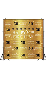 Step And Repeat Golden Glitter Shiny Background Fifty Years Old Age Party Decoration Photo Banner