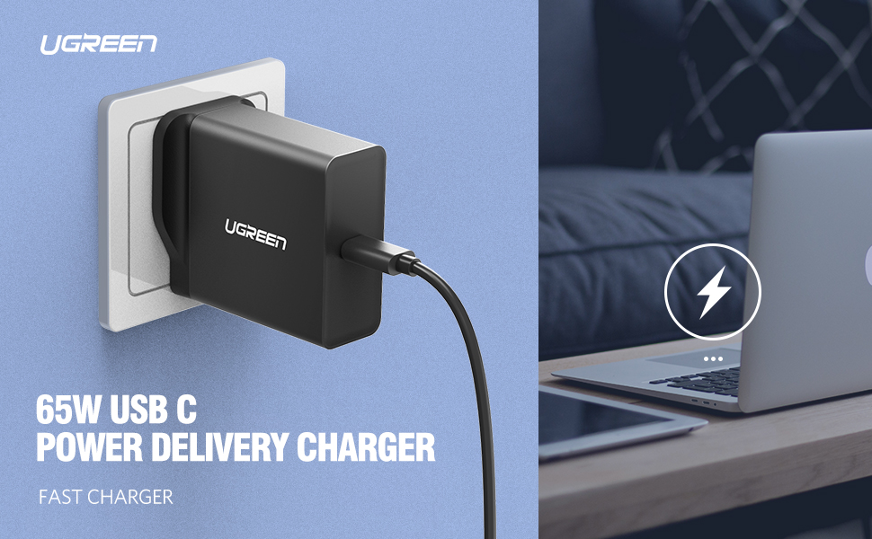 USB C Charger 65W Type C Wall Charger Laptop Power Adapter PD2.0