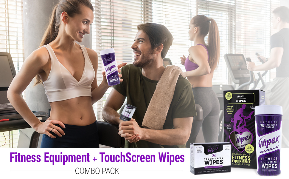 combo pack kit workout gym fitness equipment wipes sachet canister touch-screen