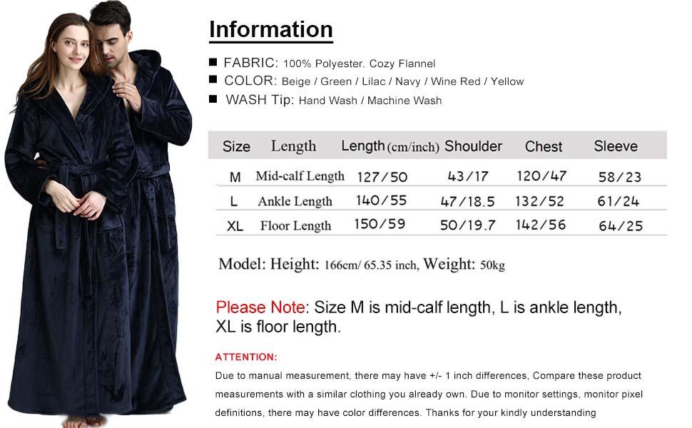 Size info for Long Bath Robe for Womens Plush Soft Fleece Bathrobes Nightgown