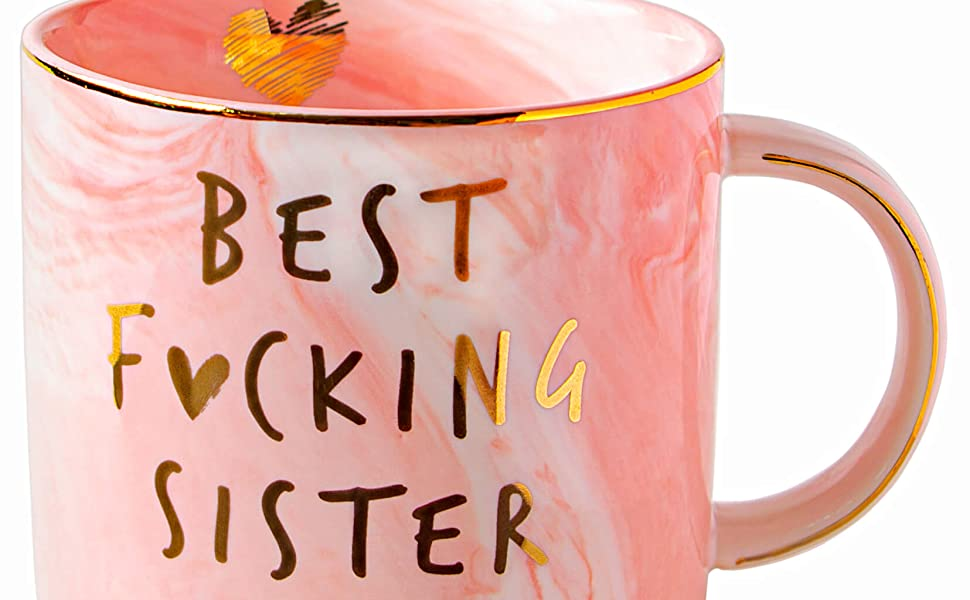 Best Sister Ever Funny Gifts Mug Pink Coffee Cup women birthda happy cute cool presents Christmas