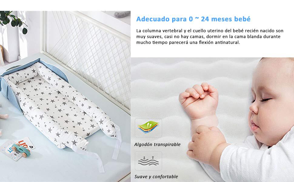 animal rosa TEALP Tumbona para beb/é con Almohadas Capazo de Beb/é Nido Transpirable para Beb/é Reci/én Nacido para Cosleeping