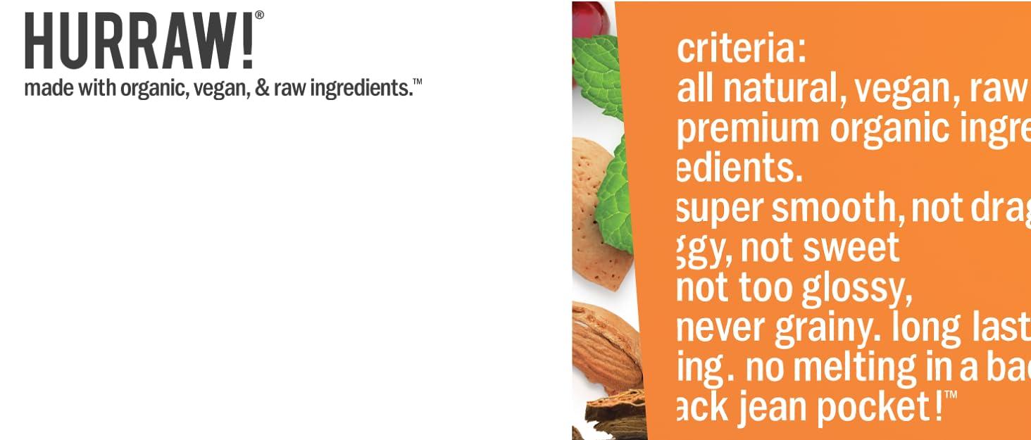 HURRAW Organic Certified Vegan Cruelty Free No GMO Gluten Free All Natural Luxury Lip Balm Chapstick