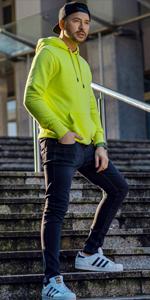 BOLF Herren Kapuzenpullover Hoodie Sweatshirt Basic Sport Style