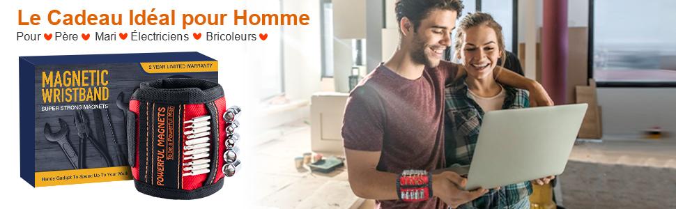 Bracelet magnétique cadeau Bricolage bracelet magnétique, cadeau outil pour hommes charpentier père