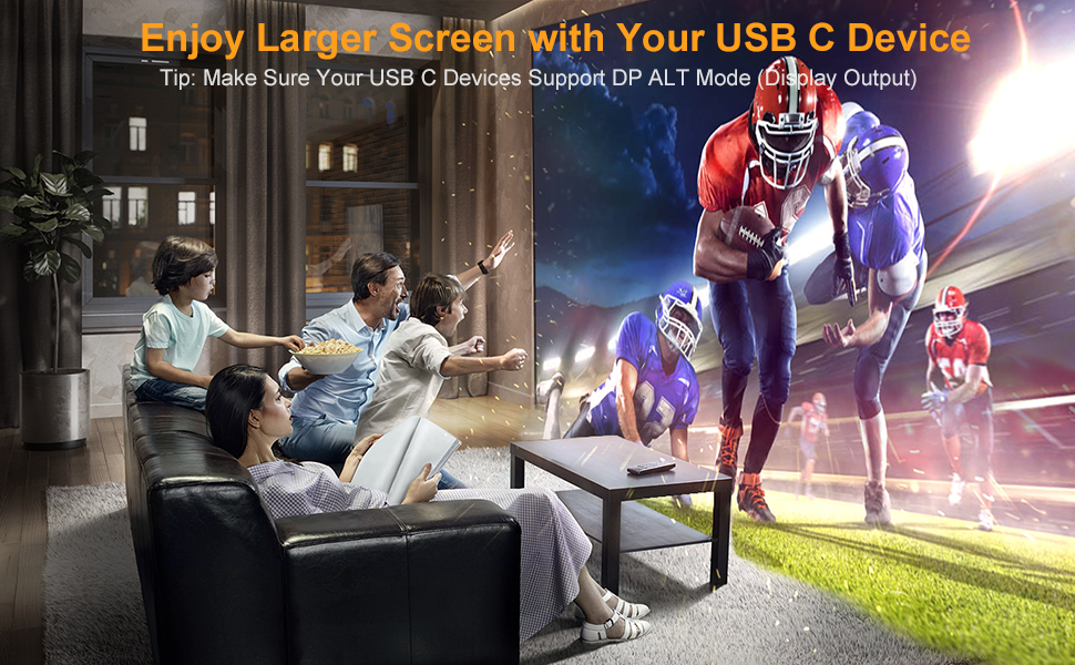 This HDMI to USBC Adapter allow to enjoy the large screen with your family