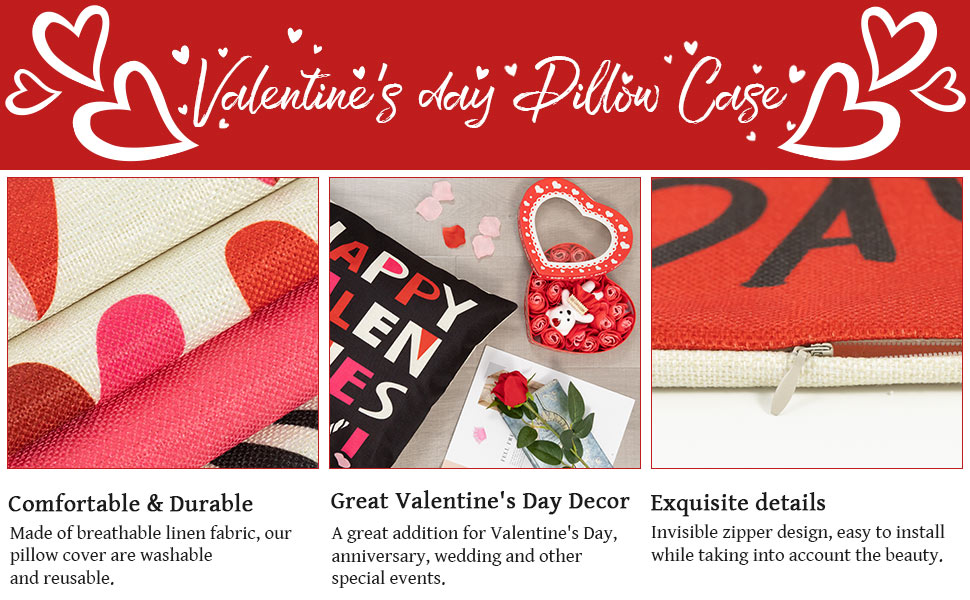 Happy Valentine's Day Pillow Cover
