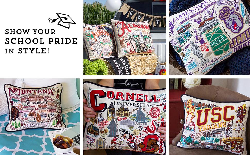 "Catstudio ""Paris /"" Hand Embroidered Pillow 20/""x20/"" .100/% Cotton. NWT"
