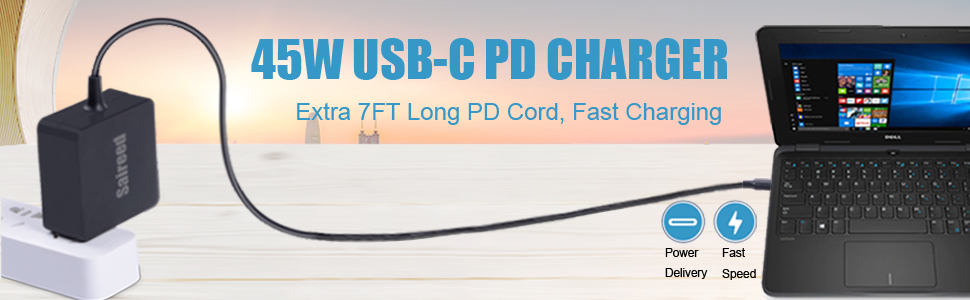 45w power delivery ac charger for lenovo-chromebook-laptops, C340 S330 S340 ADLX45YCC3D ADLX45YLC3D