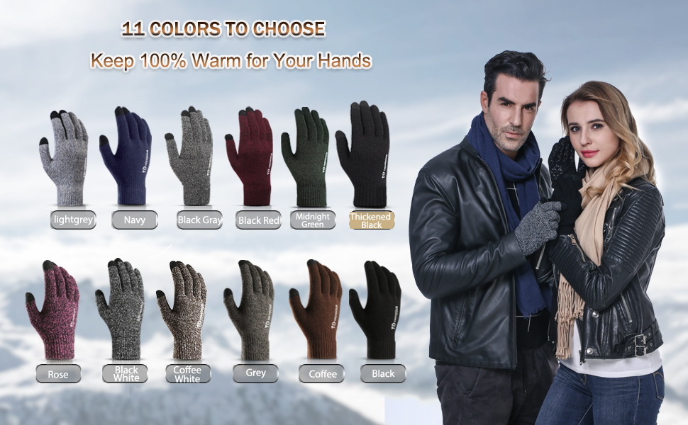 TRENDOUX Winter Gloves for Men Women - Touch Screen Anti-Slip Silicone - Thermal Soft Wool Lining