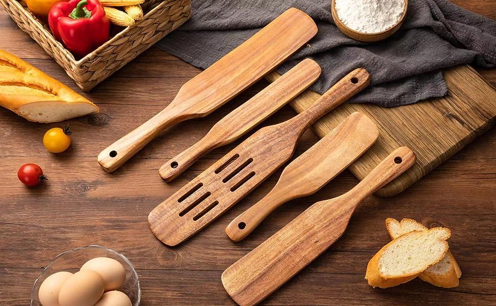 Navatiee Wooden Spatula Cooking Kitchen Utensil Tools.
