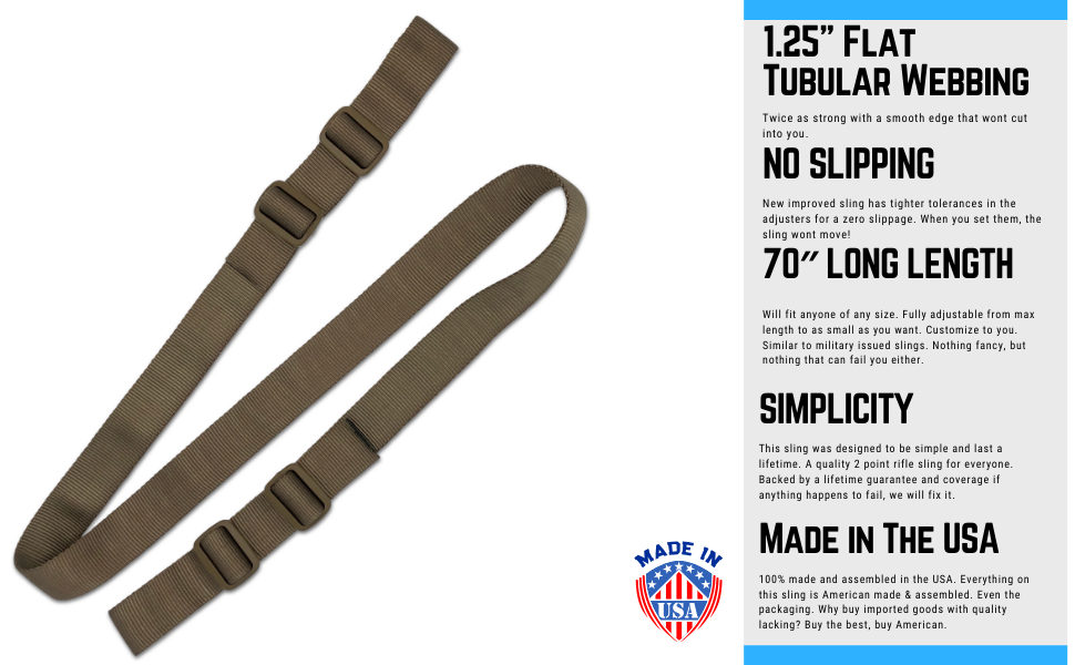 Two Point Rifle SLing For Hunting Made In the USA Easily Add QD Swivel