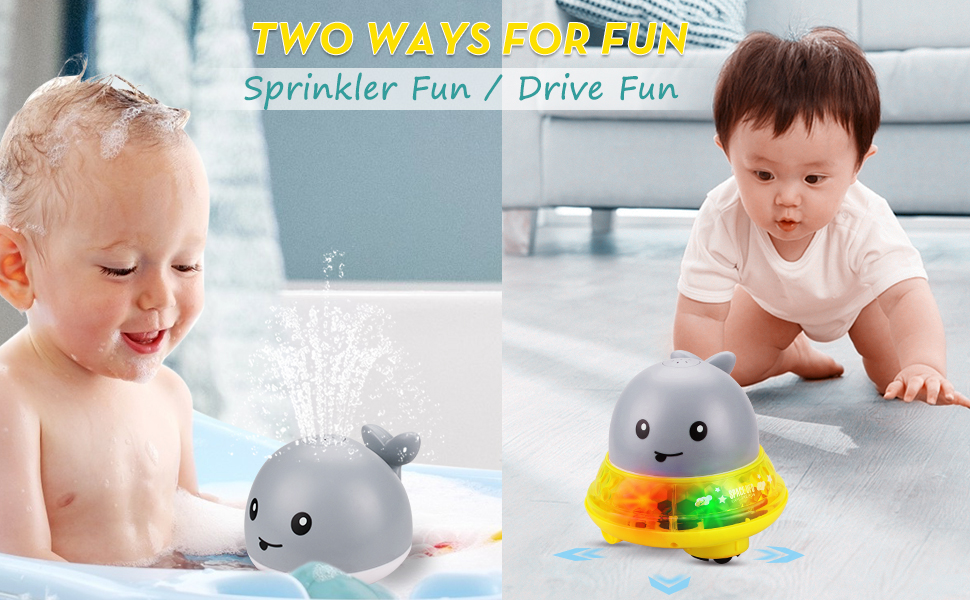 OFOCASE Whale Water Spray Toy Gray Electric Sprinkler Bathtub Toys for Toddlers Electric Induction Sprinkler Ball Baby Bath Toy with Light and Musical Fountain