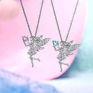 Children Kids Girls Fairy Necklace Bracelet /& Keyring Gift Set-Fairy Gift Bag 3