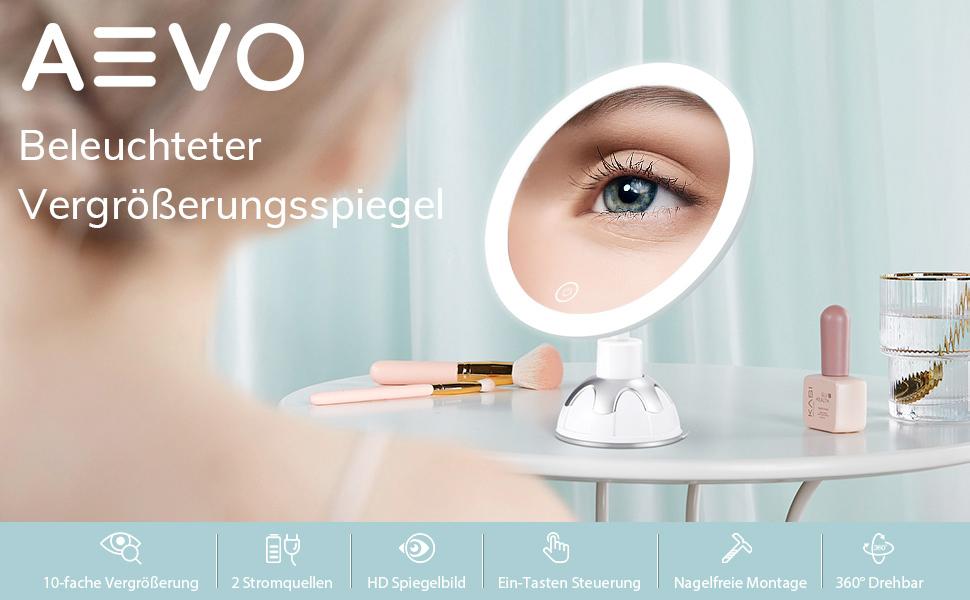 Kosmetikspiegel mit Dimmbares LED Licht10-facher VergrößerungKosmetikspiegel LED Beleuchtet mit 10x