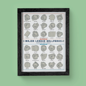 Baseball stadium poster in black frame on green wall