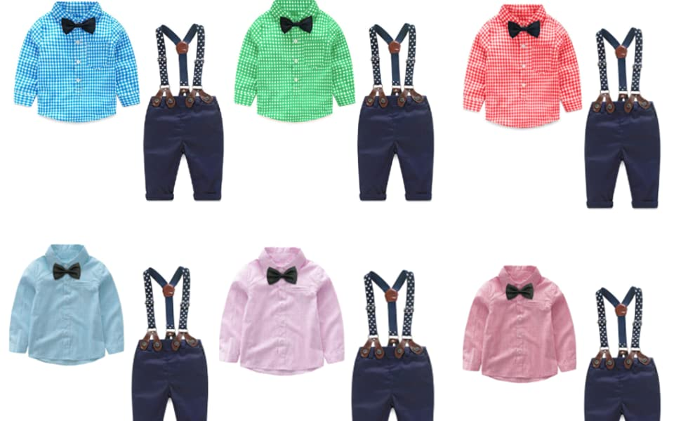 little dragon pig Baby Boy Suit Toddler Gentleman Outfit Long Sleeve Tshirt Suspender Pants Fall Clothes