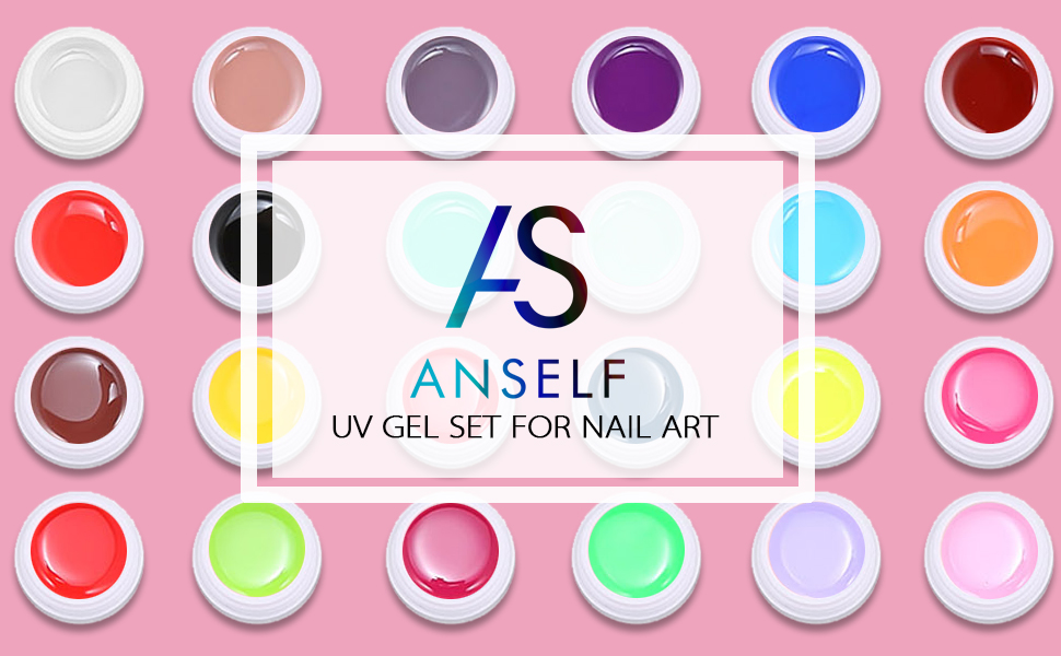Anself Gel Uñas 36 Colores Art-Pigmentos del Esmalte de Uñas Juego ...