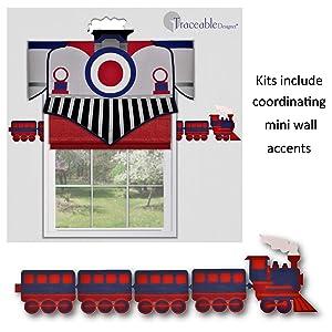 train valance boys room nursery choo choo wall decoration decorating kit window treatment DIY