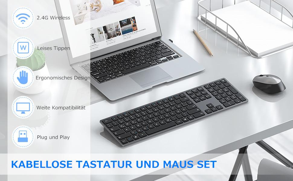 seenda Juego de teclado y ratón inalámbrico, 2,4 GHz, teclado ultrafino, teclado y ratón con teclado numérico, compatible con Windows ...