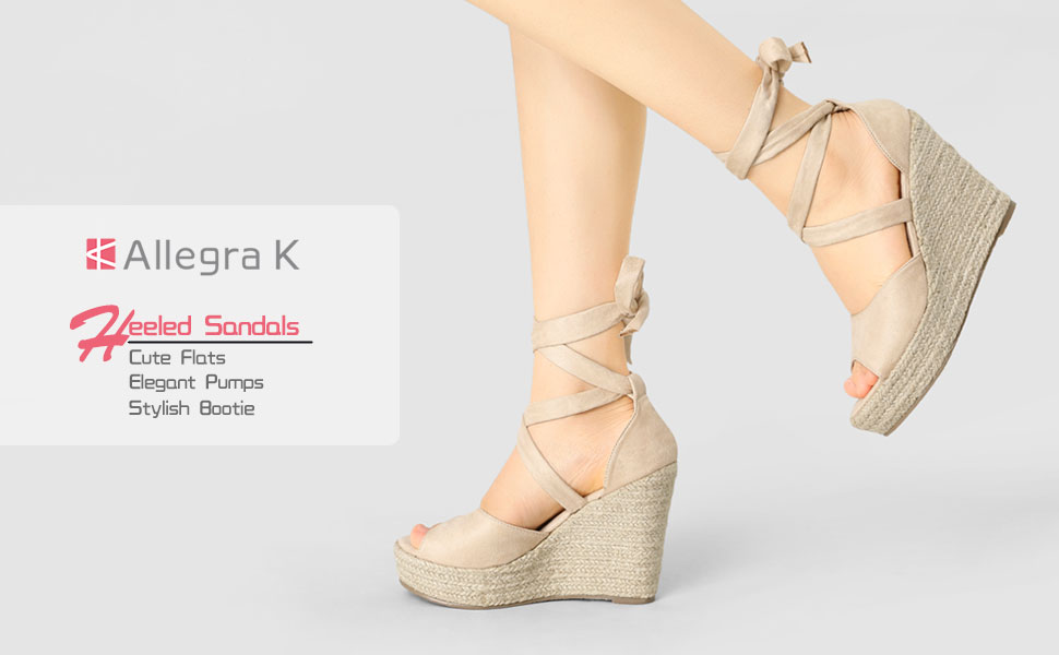 Allegra K Women's Lace-Up Canvas Wedge Sandals