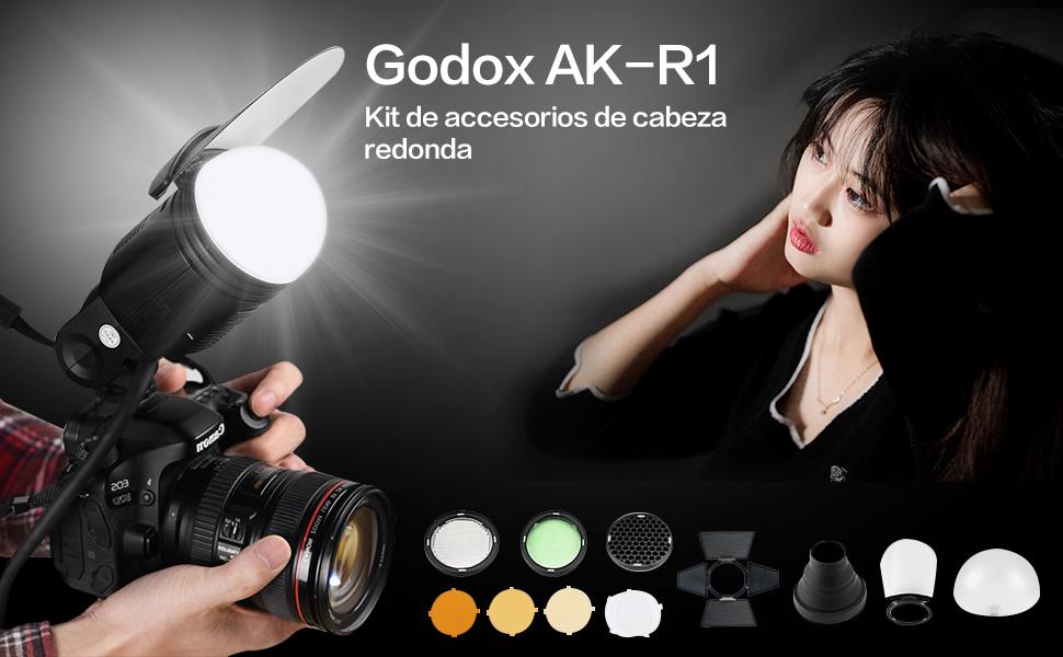 Godox AK-R1 Kit de Accesorios para Cabeza de Flash de Bolsillo Godox AD200 Bola Difusora, Filtros de Color, Panal de Miel, Snoot, Puerta de Granero