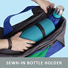 Extra large canvas yoga mat bag with straps to hold yoga mat and full length zipper bottle pocket