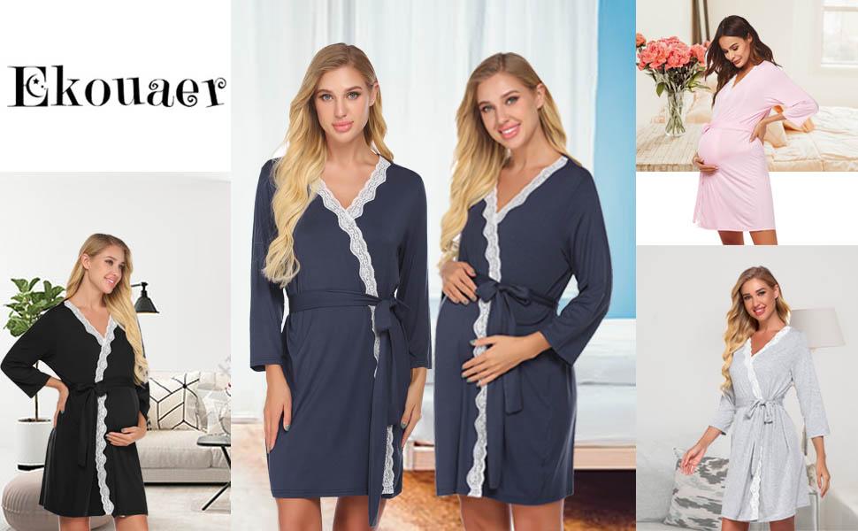 Ekouaer Maternity Nursing Robe,Delivery Nightgowns Hospital Breastfeeding Gown