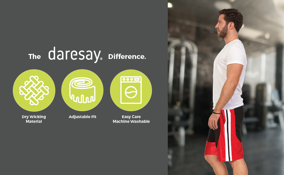 daresay mens athletic shorts the daresay difference. dry wicking material, adjustable fit, easy care