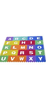 COSTWAY Alfombra Puzzle para Ni/ños de 36 Piezas con Alfabeto y N/úmeros Extra/íbles Tapete de Suelo de EVA Cada uno de 31,5x31,5x1cm
