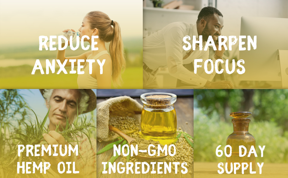 Hemp Oil Capsules - Best Organic Natural Pure Hemp Seeds Extract For Pain Relief Anti Anxiety