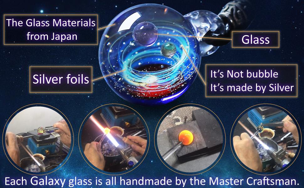 Pavaruni Galaxy Pendant Necklace, Universe Glass, Space Design,Birthday Art Japan Handmade Craftsman