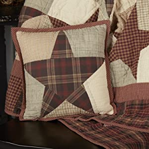 Abilene Star Throw Pillow primitive country rustic Americana VHC Brands quilted bedding pillow sham