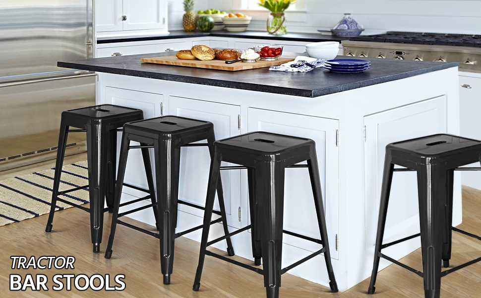 Metal stools Counter Height Kitchen Stools Set of 4 Backless Stackable Bar Stools Indoor/Outdoor